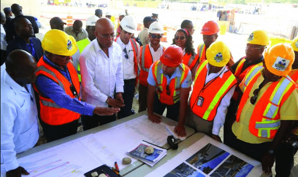 President Martelly with Delmas construction workers