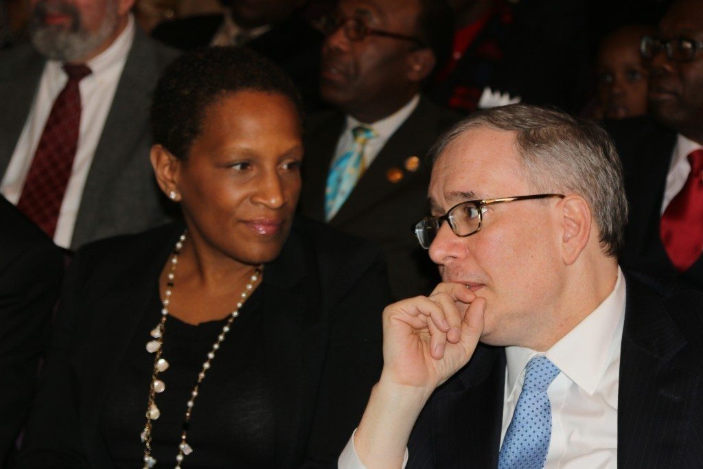Rosemonde Pierre-Louis, Commissioner, NYC Mayor's Office To Combat Domestic Violence (left) and New York City Comptroller Scott M. Stringer