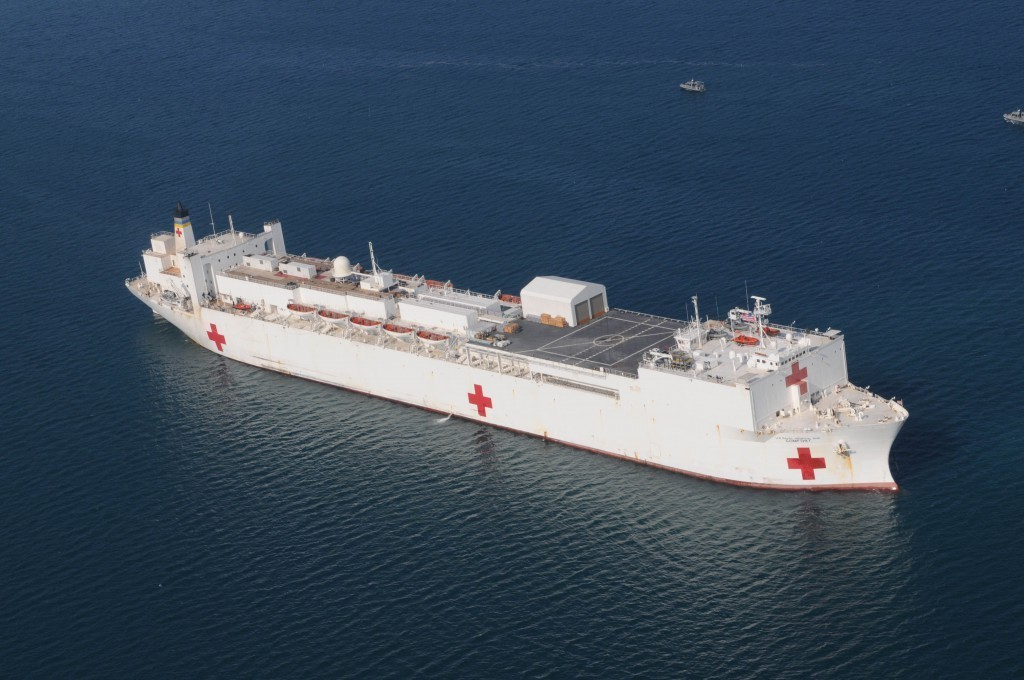 Hospital Ship USNS Comfort to Anchor in Haiti at 2015 Mission's End