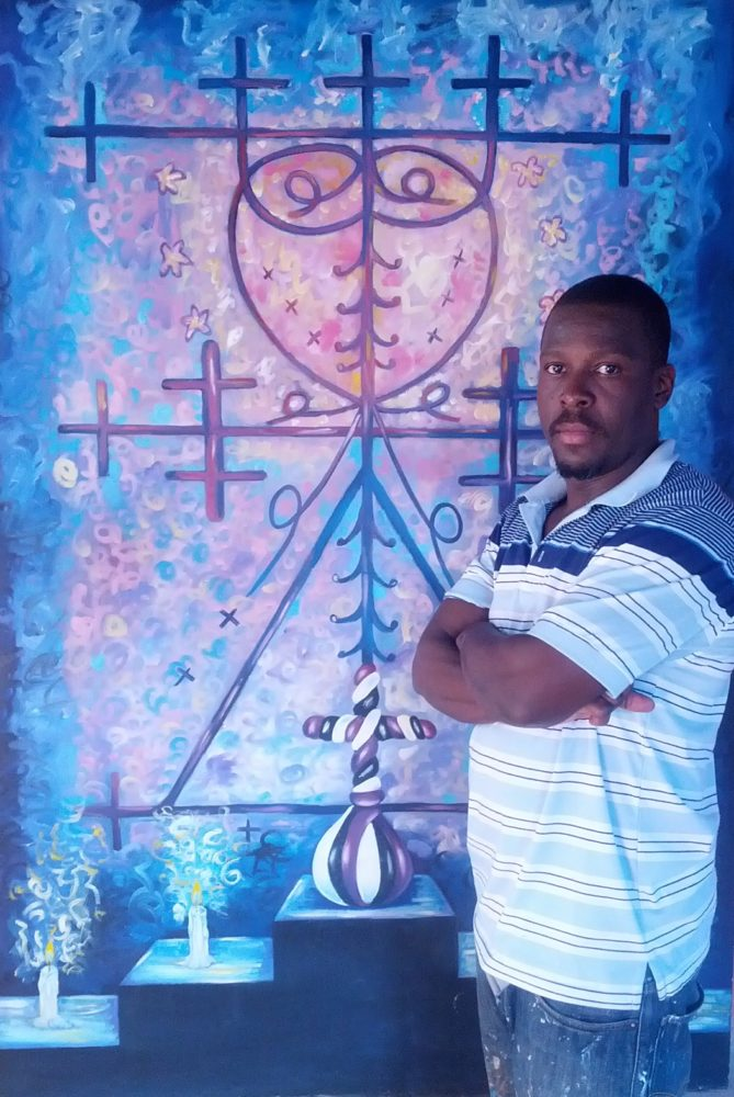 "Florestal Evens and his painting ""Haitian Symbol"""