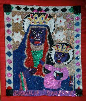 Sequined flags depict Haitian Vodou spirits in New Orleans